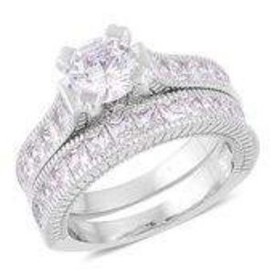 Jewelry - Sim White Diamond Silvertone Set of 2 Ring